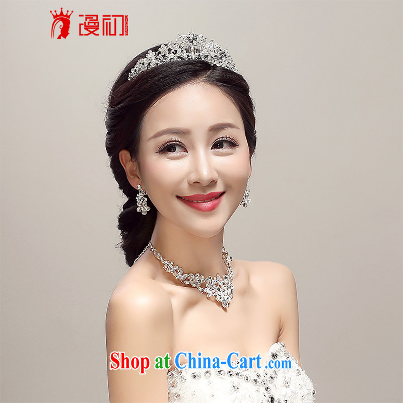 Early definition 2015 new bridal Crown necklace earrings 3 piece wedding dresses accessories wedding supplies white