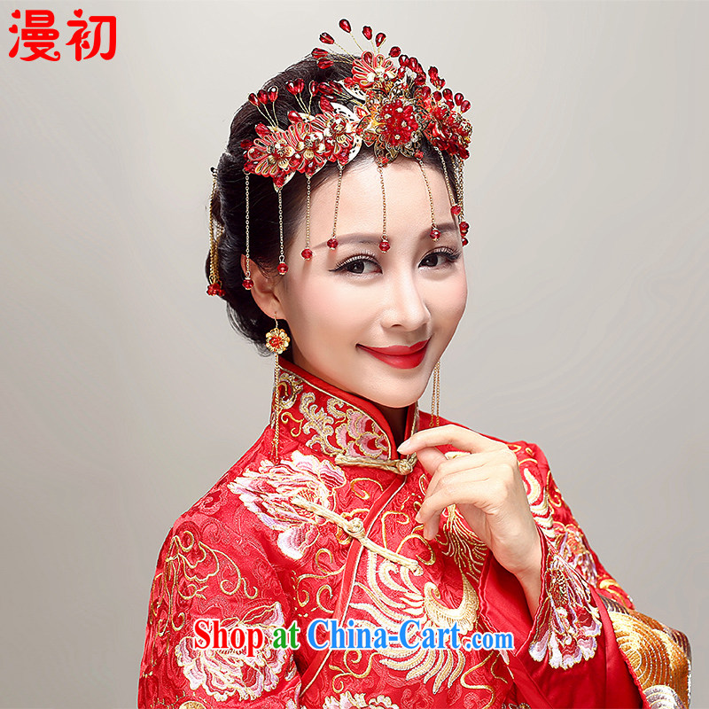 Early definition 2015 New Classic bridal show reel toast serving serving Bong-crown bridal headdress earrings Kit Ying House supplies red