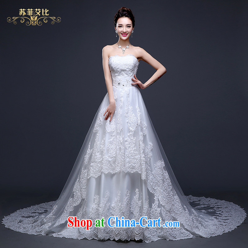 Sophie than AIDS summer 2015 new Korean wedding bridal wedding dress skirt ivory white wiped off the chest, tied with a long tail cultivating larger graphics thin wedding female white XL