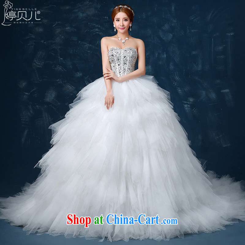 Ting Beverly wedding dresses spring 2015 new Korean-style bride's bare chest parquet drill tail wedding summer feathers graphics thin with white beauty XXL