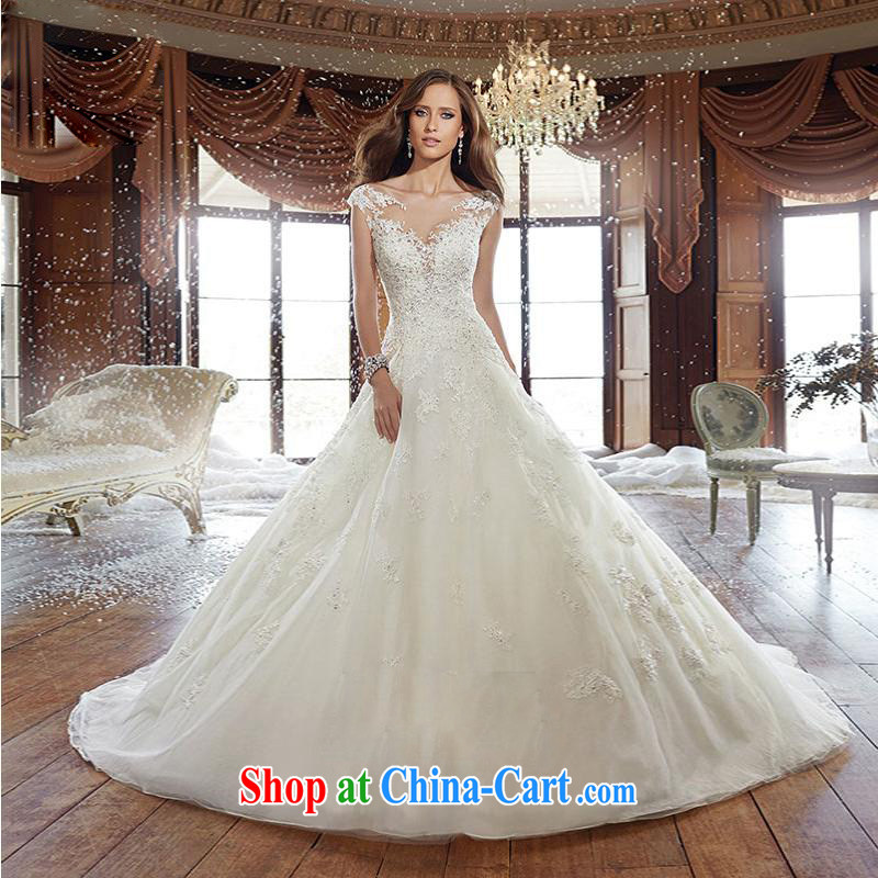 The field shoulder wedding tail 2015 summer V for a field with new Korean Beauty video gaunt side custom wedding dresses white XL 3 to 5 day shipping