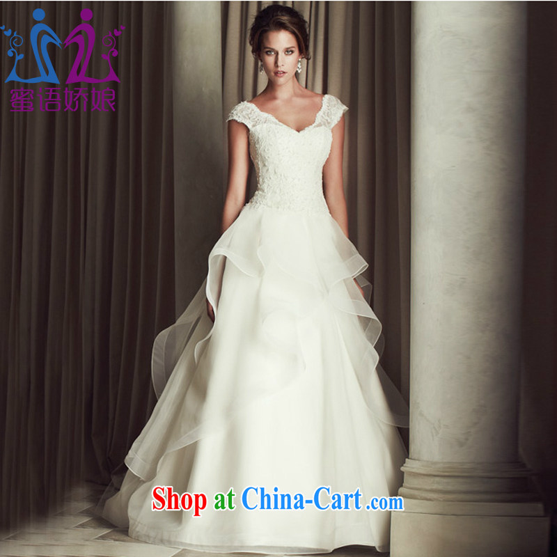 Honey, bride new lace luxurious tail wedding in Europe and America for V shoulders cultivating graphics thin wedding bridal wedding dress 2015 new white XXL