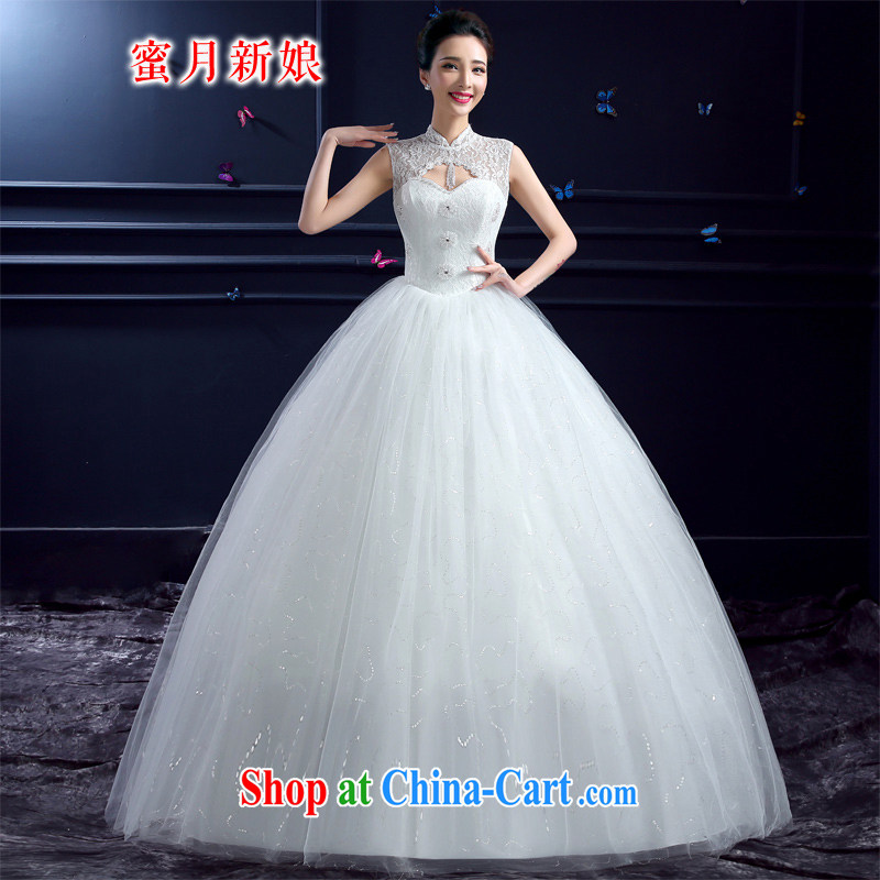 Honeymoon bridal wedding dresses summer 2015 new Korean lace up collar package shoulder retro pregnant larger wedding white XXL