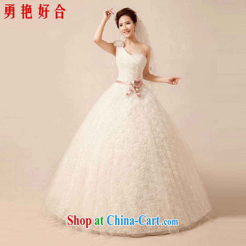 Yong-yan and purely manual sewing water drilling wedding dresses new 2015 summer new sexy video thin white Princess single shoulder with straps wedding white. size is not returned.