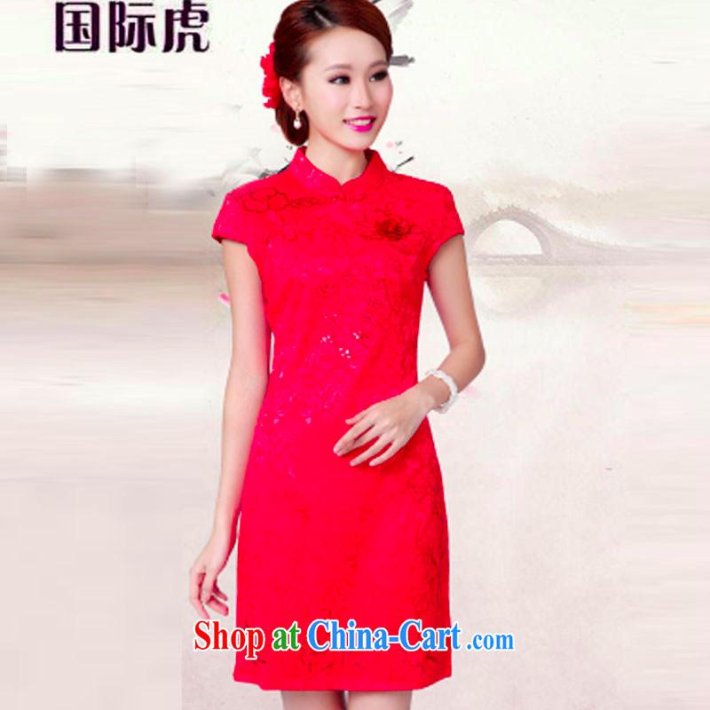 2015 wedding dresses serving toast new summer red wedding dress high collar dress cheongsam red XL