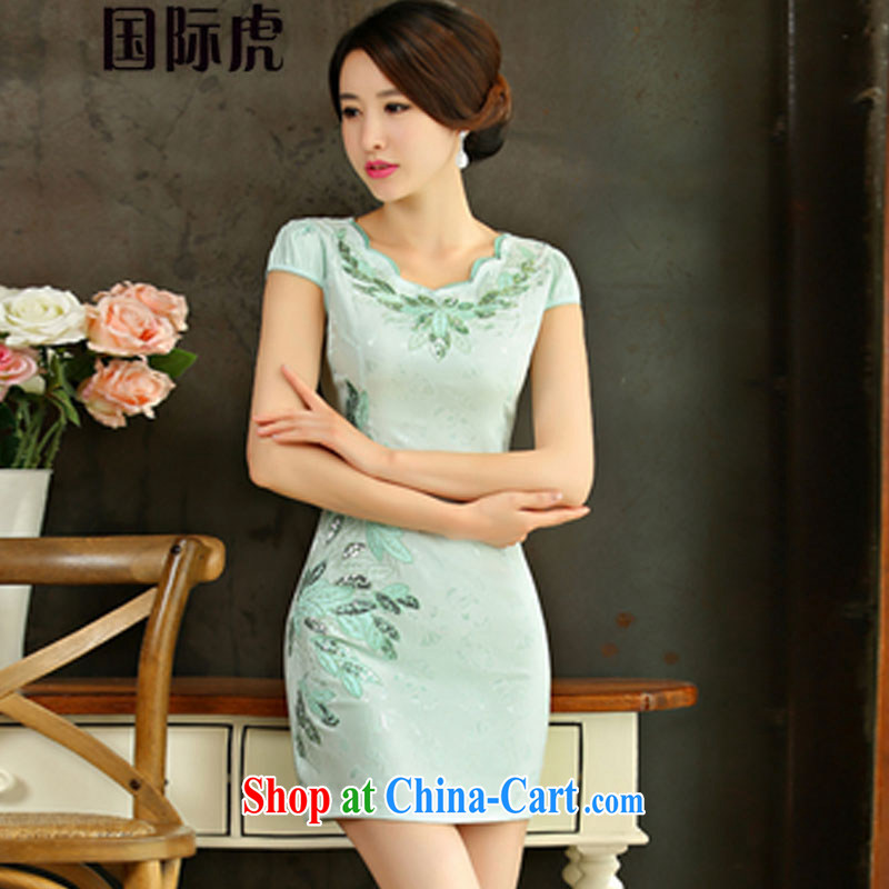Real-time concept 2015 summer improved female cheongsam dress retro beauty everyday dresses short dresses green XL