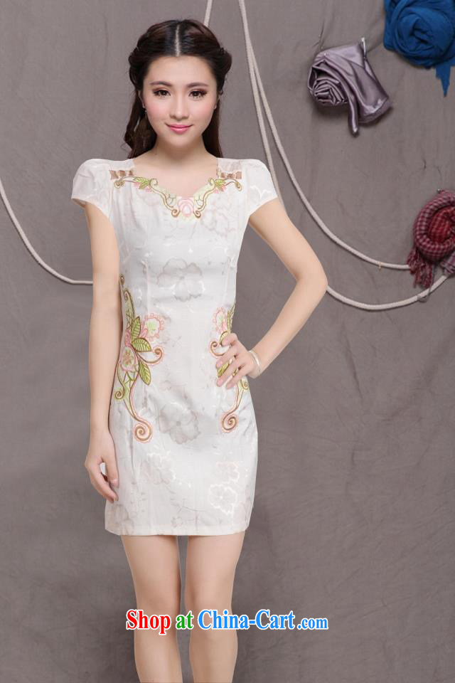 2015 new, improved female cheongsam dress fashion style retro beauty everyday dresses short dresses, pale yellow XL pictures, price, brand platters! Elections are good character, the national distribution, so why buy now enjoy more preferential! Health