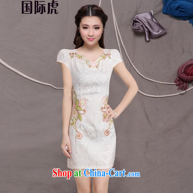 2015 NEW Improved Female cheongsam dress fashion style retro beauty everyday dresses short dresses, pale yellow XL