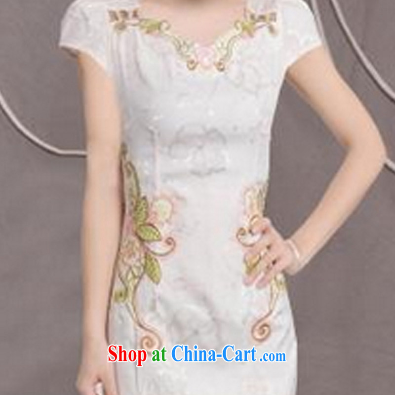 2015 new, improved female cheongsam dress fashion style retro beauty everyday dresses short dresses, pale yellow XL, International tiger, shopping on the Internet