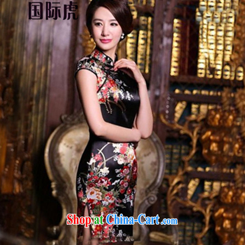 2015 new summer cheongsam dress Everyday Women retro improved stylish beauty summer short Silk Cheongsam dress black saffron XL