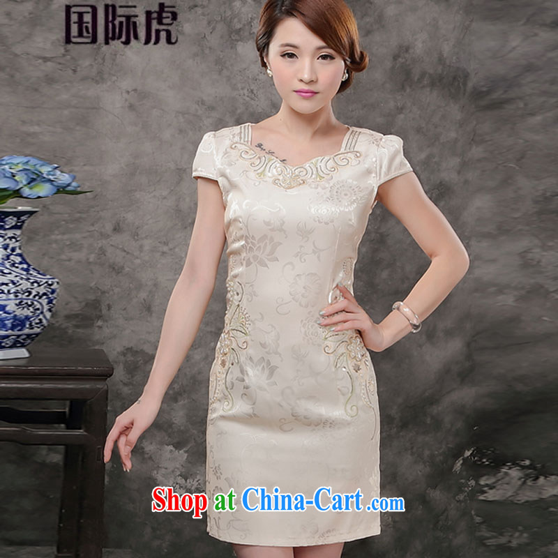 Only 2015 new summer dresses improved stylish Daily Beauty-waist short cheongsam style female pink XL, International tiger, shopping on the Internet