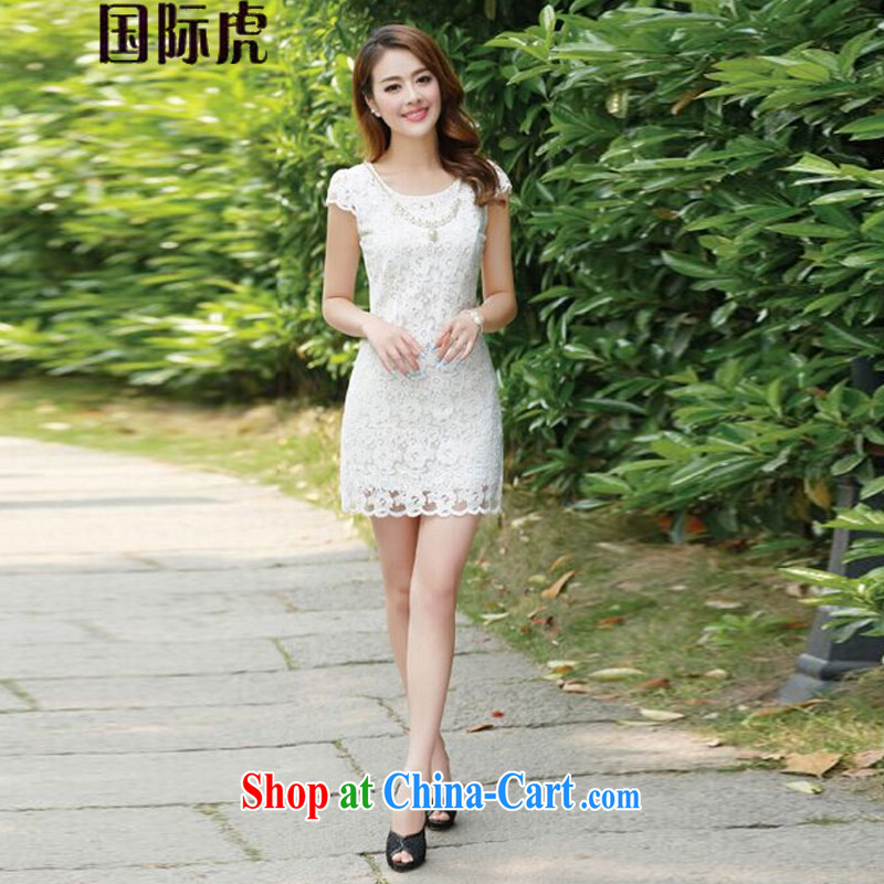 2015 new summer retro elegant Ethnic Wind daily improved Stylish Girl lace cheongsam dress white XL