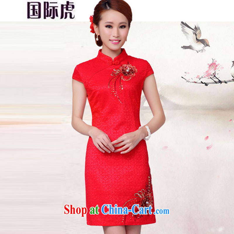 Bridal toast serving short red, marriage dresses autumn 2015 stylish new dress red XL