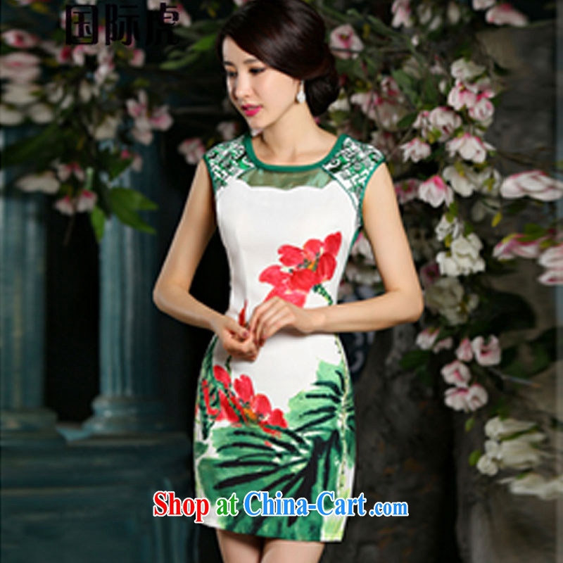 Summer 2015 new high-end digital stamp embroidery style beauty improved cheongsam dress green XL