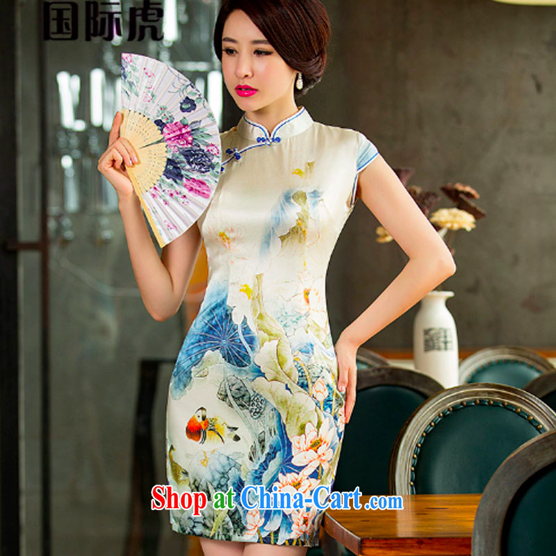 Silk Dresses silk dos Santos, new dresses summer improved retro beauty cheongsam dress suit XL