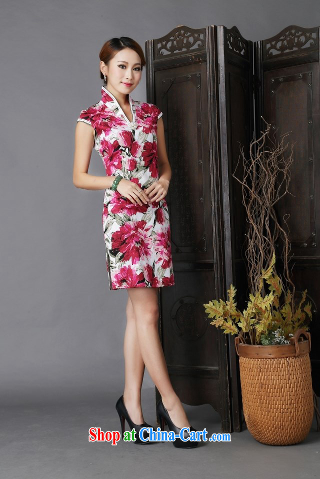 2015 New floral cheongsam dress stylish improved Chinese qipao cheongsam floral XL pictures, price, brand platters! Elections are good character, the national distribution, so why buy now enjoy more preferential! Health