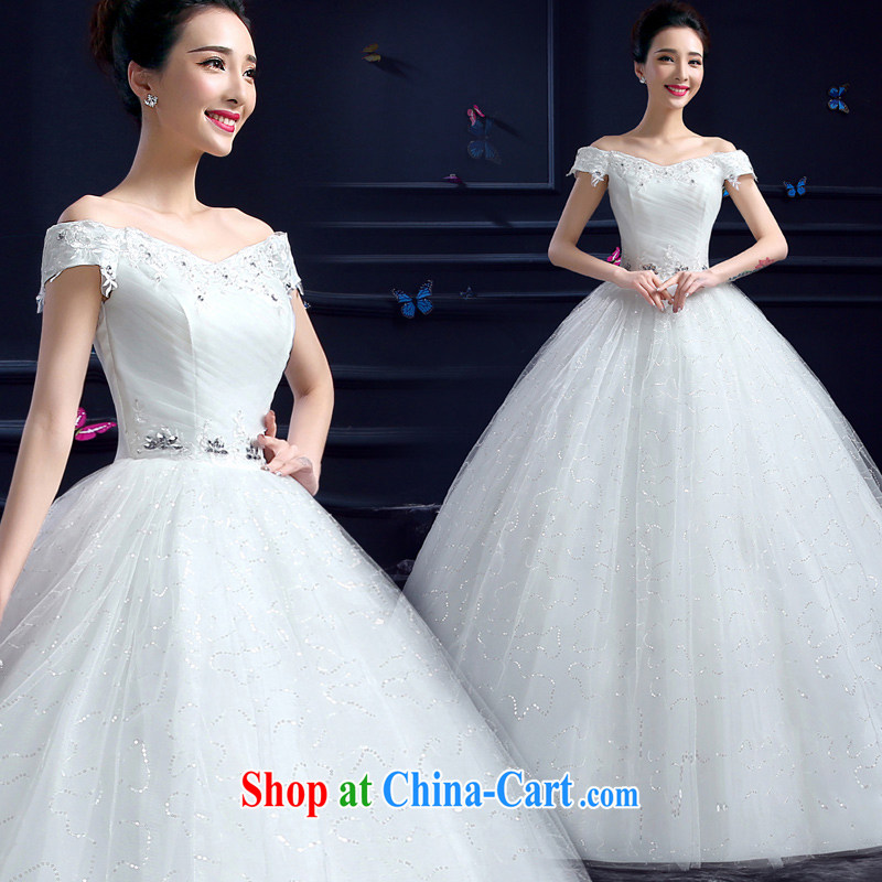 Honeymoon bride summer 2015 new wedding dresses Korean sweet Princess a shoulder with lace inserts drill wedding white XXL