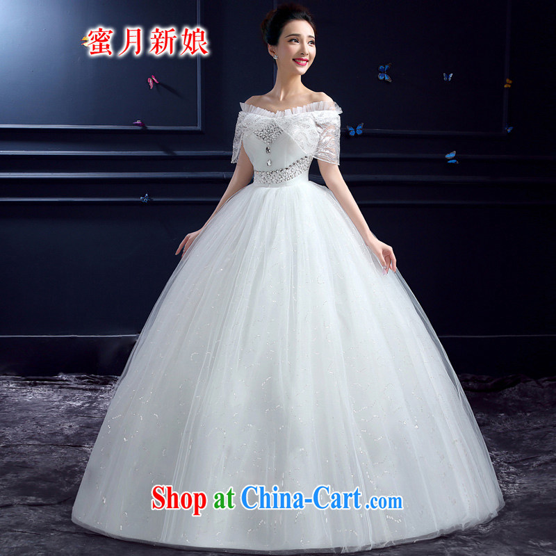 Honeymoon bride summer 2015 new wedding dresses Korean sweet Princess a shoulder with lace, wedding white XXL