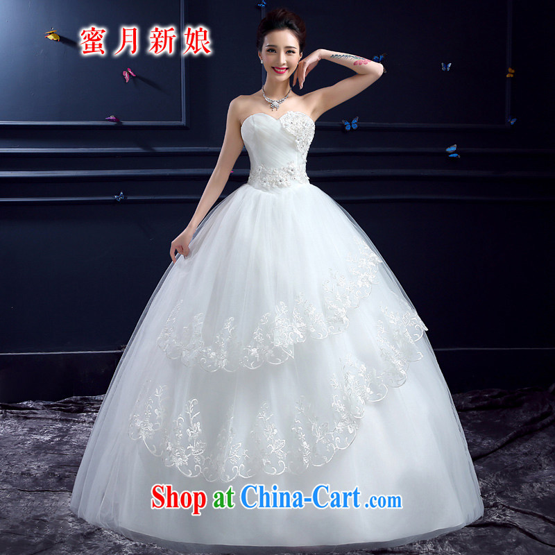 wedding dresses 2015 new wedding dresses honeymoon bride's bare chest wedding Korean Dream lace Princess wedding white XXL