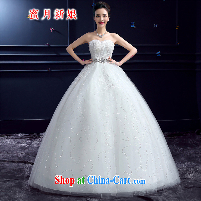 wedding dresses 2015 new wedding dresses honeymoon bridal erase chest wedding pregnant parquet drill Princess with wedding white XXL