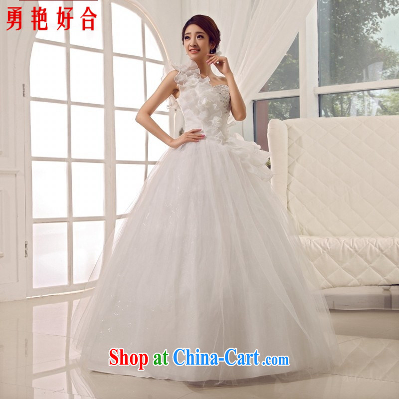 Yong-yan and 2015 new wedding dresses antique palace sweet Princess single shoulder strap flowers bridal wedding white. size is not returned.