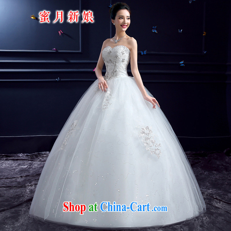 wedding dresses 2015 new wedding dresses honeymoon bridal erase chest wedding parquet drill Princess with lace wedding white XXL