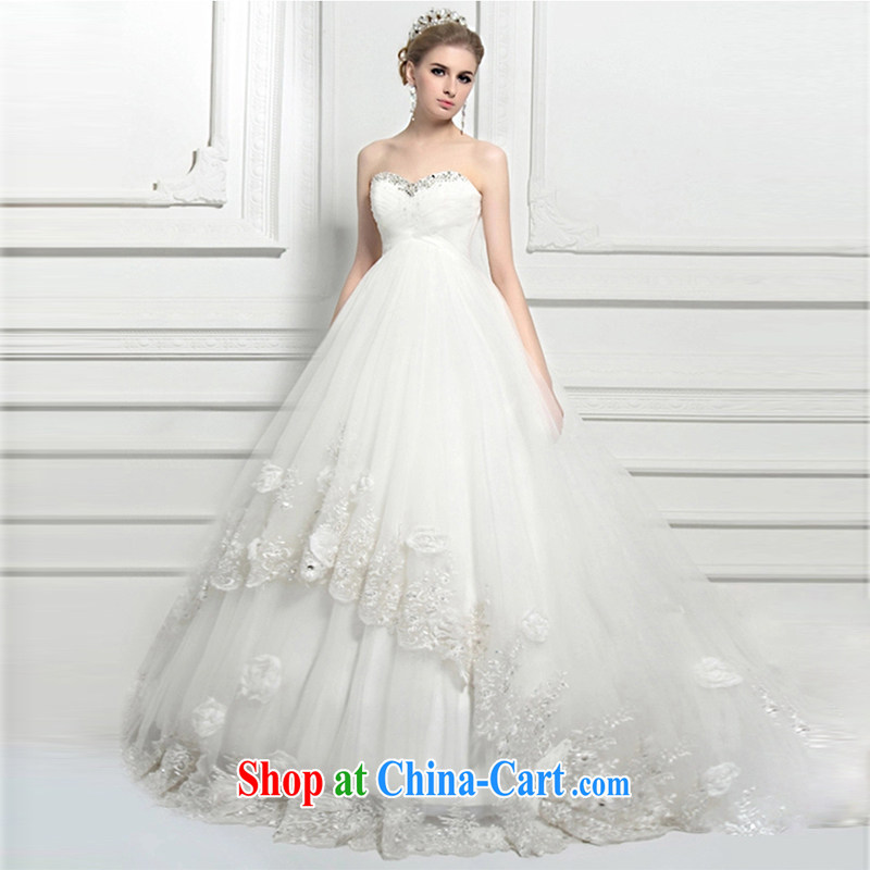 Wei Qi 2015 summer new pregnant women wedding dresses wiped his chest high waist wedding dresses high-end custom in Europe and America, the cultivation parquet drill wiped his chest wedding female white tailored plus $50
