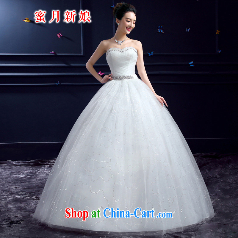 wedding dresses 2015 new wedding dresses honeymoon bridal erase chest wedding parquet drill Princess with luxurious wedding white XXL