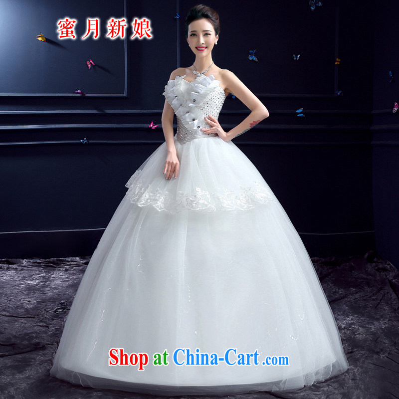 wedding dresses 2015 new wedding dresses honeymoon bridal erase chest wedding parquet drill Princess with nails Pearl wedding white XXL