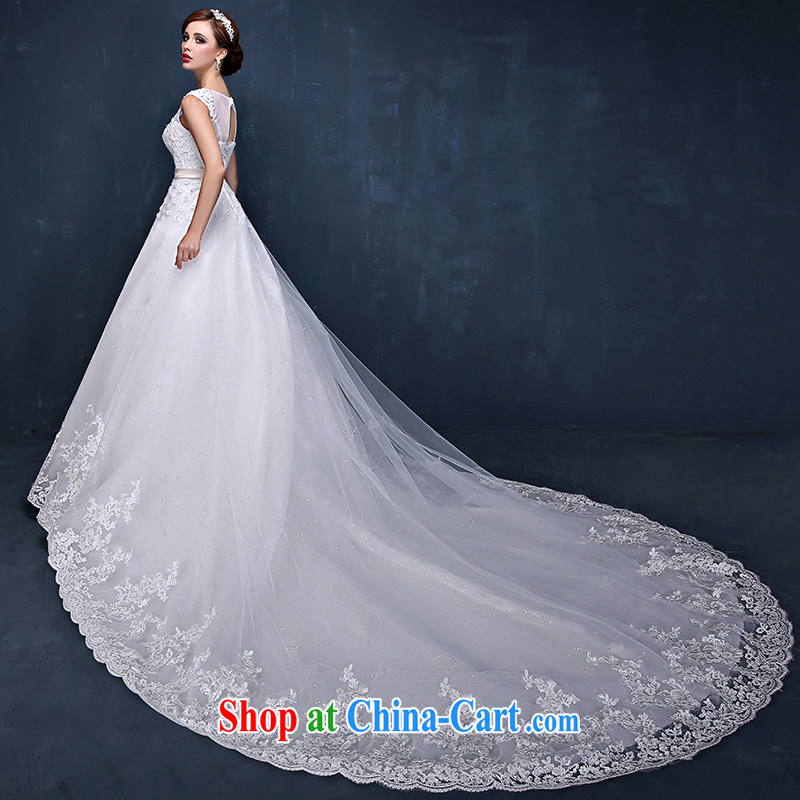 wedding dresses 2015 summer new Korean shoulders flowers graphics thin marriages tail wedding dresses white XL (waist 2.3)