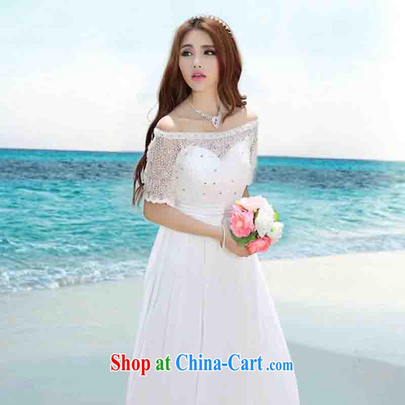 And Cisco's 2015 Korea Maldives beach dress wedding nails Pearl inserts drill dress long dress white XL