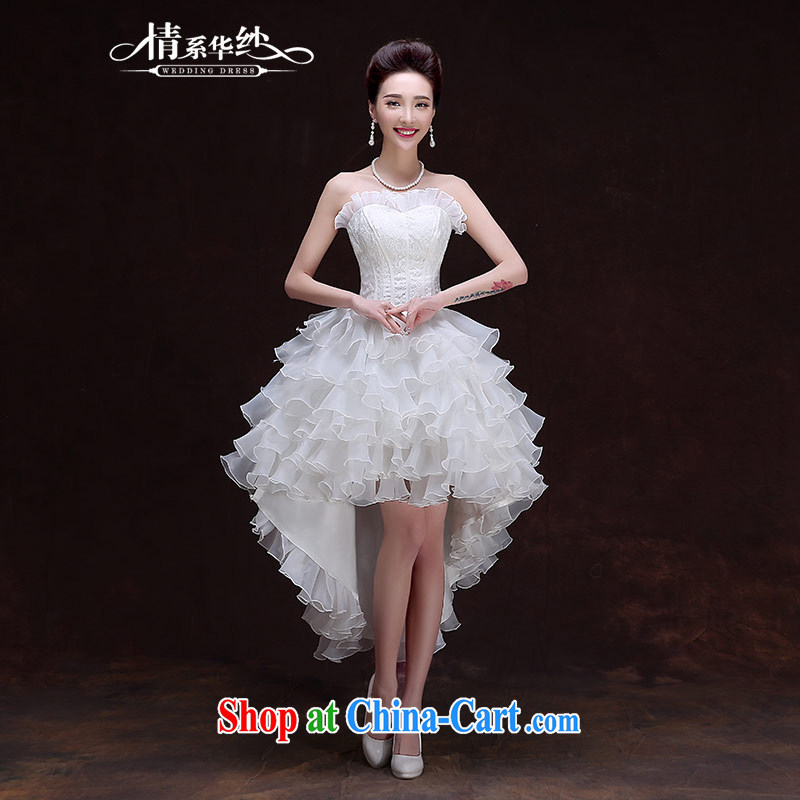 The china yarn new wedding dresses 2015 Korean version Mary Magdalene Beauty Chest strap graphics thin marriages wedding before after short length yarn small dress white. size does not accept return