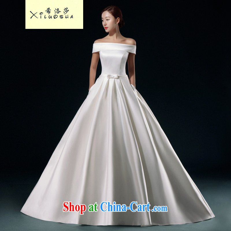 The Greek, Mona Lisa (XILUOSHA) wedding dresses new 2015 bridal field shoulder tail wedding white satin wedding dresses simple beauty custom white with XXL