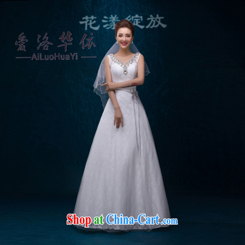 2015 new summer A Field dress and elegant shoulders, the Marriage Code wedding dresses Korean minimalist graphics thin wood drill white. Do not return does not switch