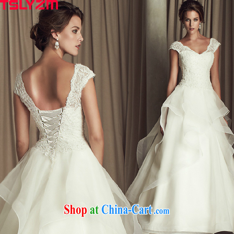 Tslyzm tail wedding dresses bridal wedding fashion European and American retro double-shoulder V brought back exposed Deluxe skirt 2015 spring and summer wedding with M