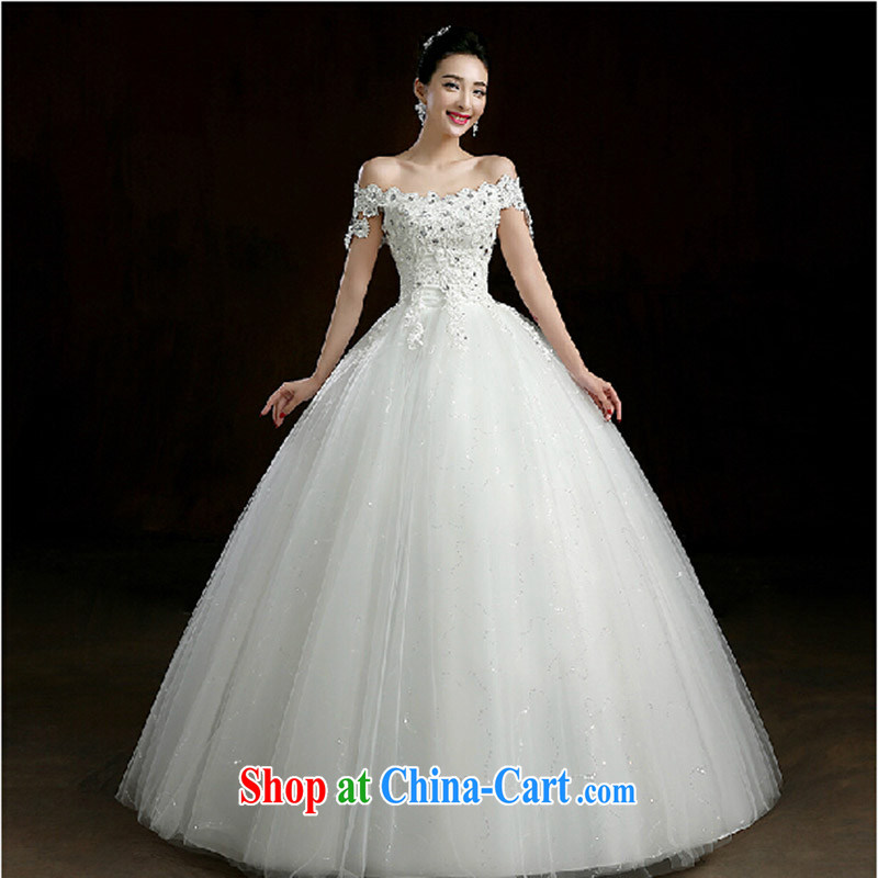 New wedding dresses the Field shoulder with wedding hibiscus flowers nails Pearl wedding bridal wedding dresses white. size does not return does not switch