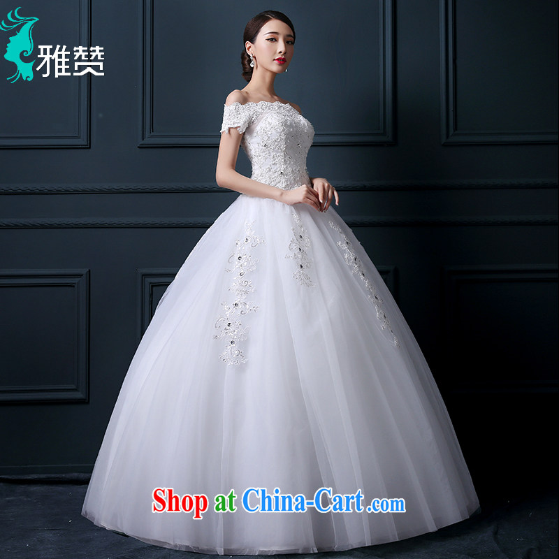 Zambia, a field shoulder with wedding dresses 2015 new summer standard Custom Korean-style water drilling cultivating the waist lace Princess skirt white L, Zambia (YAZAN), online shopping