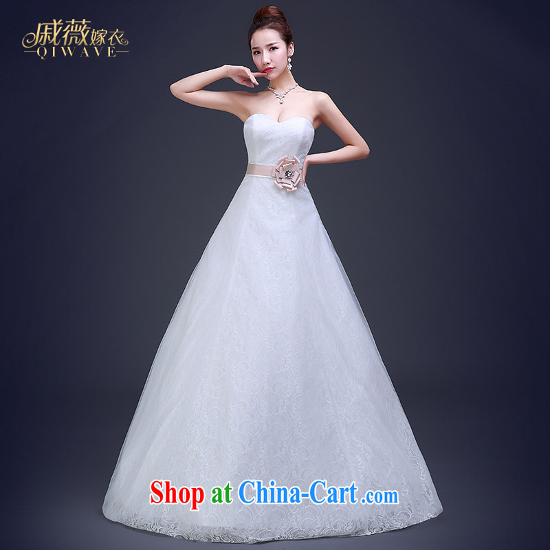 Wei Qi 2015 summer Korean bridal wedding dresses wedding dresses and stylish wiped off chest lace with tie wedding girls ivory white ivory white tailored plus $50