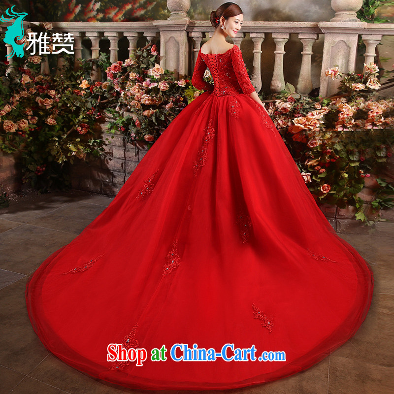 And Jacob his red wedding married a Field shoulder long-tail 2015 new spring and summer bride Korean-style long-sleeved lace water drilling upscale red XXL