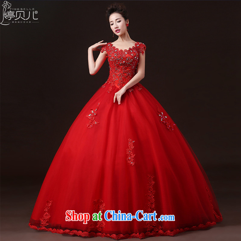 Ting Beverly wedding dresses 2015 new summer field shoulder bridal double-shoulder red wedding dresses with Korean code drill cultivating red XXL