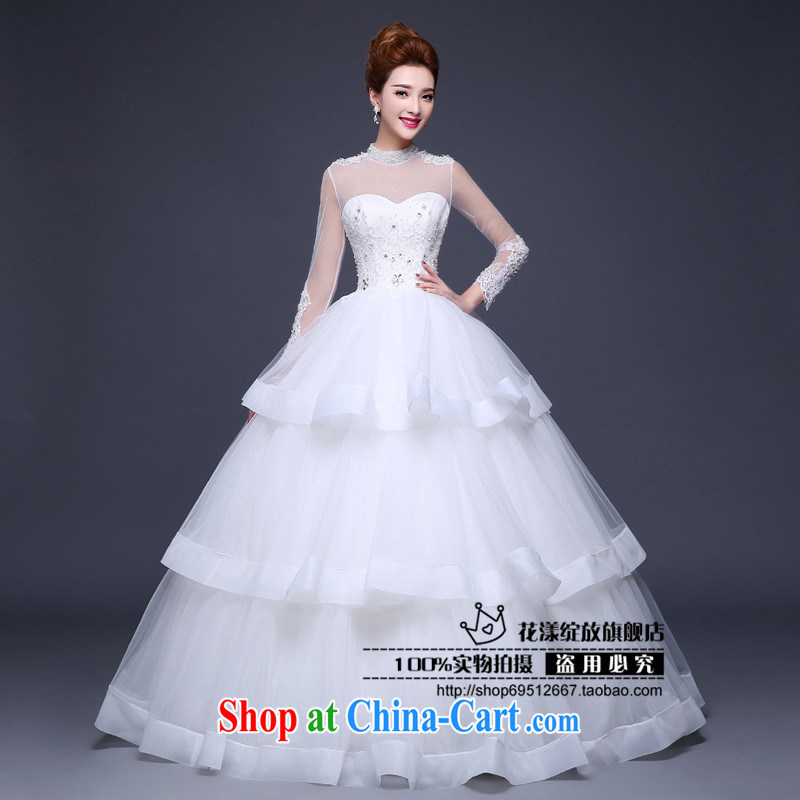 Love, according to China's 2015 Spring Summer Fall Winter new wedding dresses bridal wedding double-shoulder retro the drill field shoulder long-sleeved with white wedding white. Do not return does not switch
