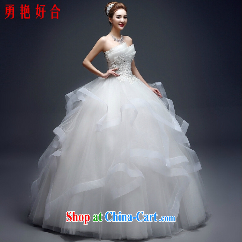 Yong-yan and wedding dresses 2015 spring and summer new marriages and stylish erase chest lace with minimalist Korean shaggy skirts white. size is not returned.