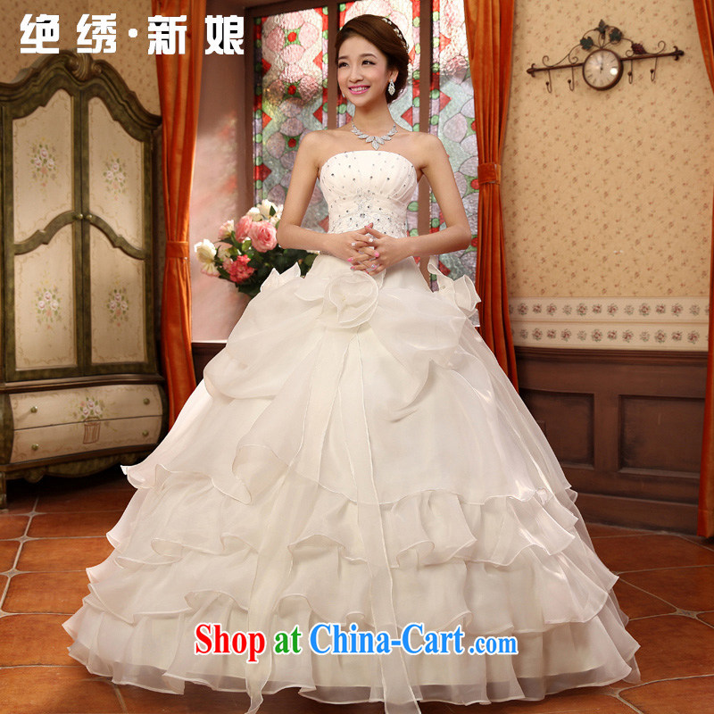 There is embroidery bridal 2015 new sweet retro tie-erase chest wedding dresses Korean version with Princess wedding white XXXL