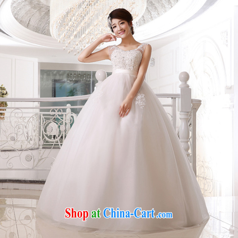 There is embroidery bridal 2015 high waist wedding dresses wedding double shoulder strap wedding pregnant women bridal wedding white XXXL