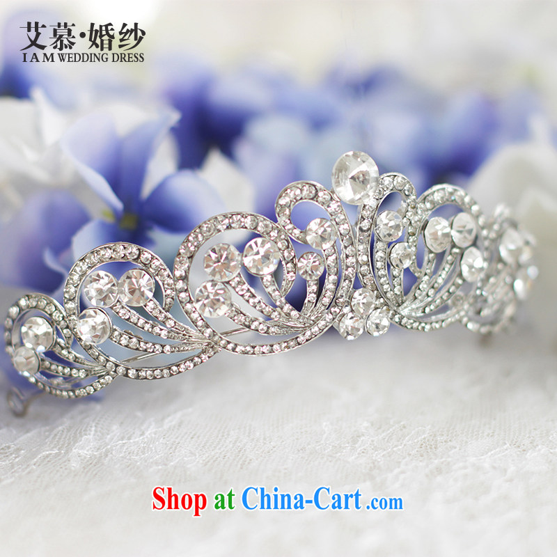 On the bridal suite 2015 to Alice antique continental Crown headdress bridal Crown Crown diamond jewelry and ornaments white