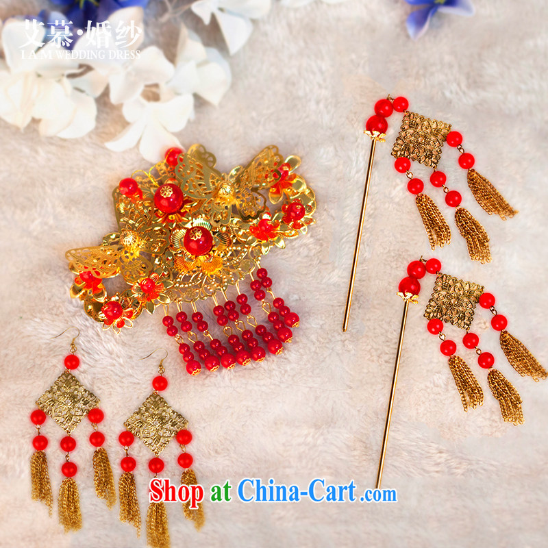 On the bridal suite 2015 new Athena to Bride Chinese head-dress show reel Kit Bong-crown hair accessories accessories 3 piece set