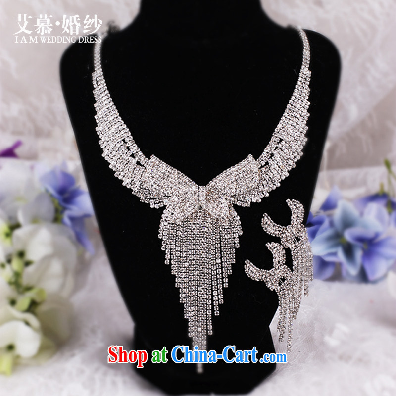 With the wedding dresses new 2015 a curtain Meng luxury bow-tie water diamond necklace with 3 piece set