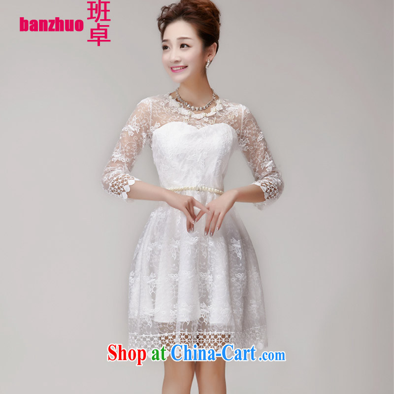 Class Cheuk-yan 2015 summer Korean version of the new staples, pearl cultivation Princess skirt dress champagne color erase chest bridesmaid sister serving as small white dress L