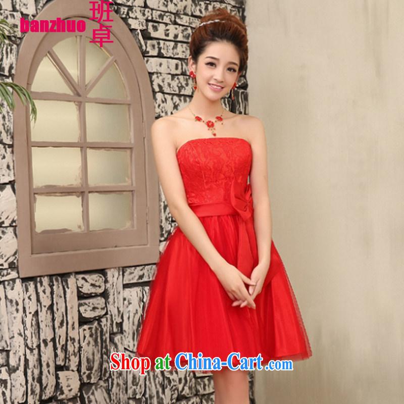 Class Cheuk-yan 2015 Korean New bridesmaid dresses small short sister small dress beauty bridal toast serving small dress red L 115 - 130 jack