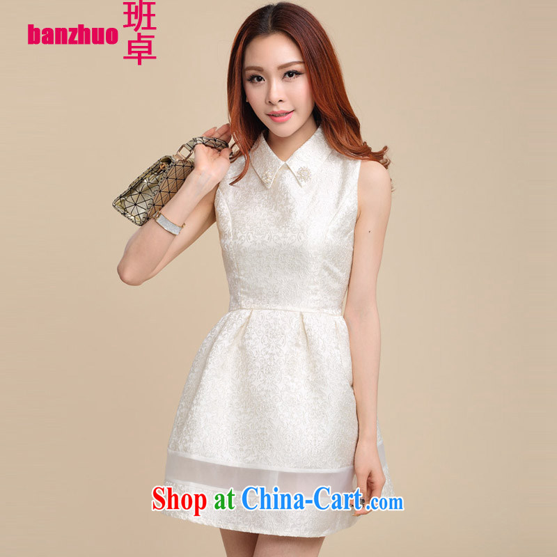 Class Cheuk-yan Fashionable dresses new Korean Beauty sleeveless bridesmaid dress shaggy dresses white L